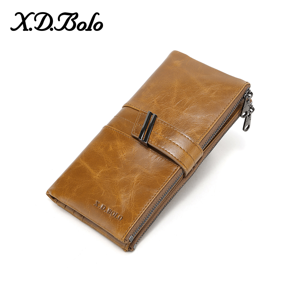 X.D.BOLO Ladies Leather Wallets Female Long Wallet Women Zipper Purse Many Departments Women's Clutch Leather Wallet For Iphone