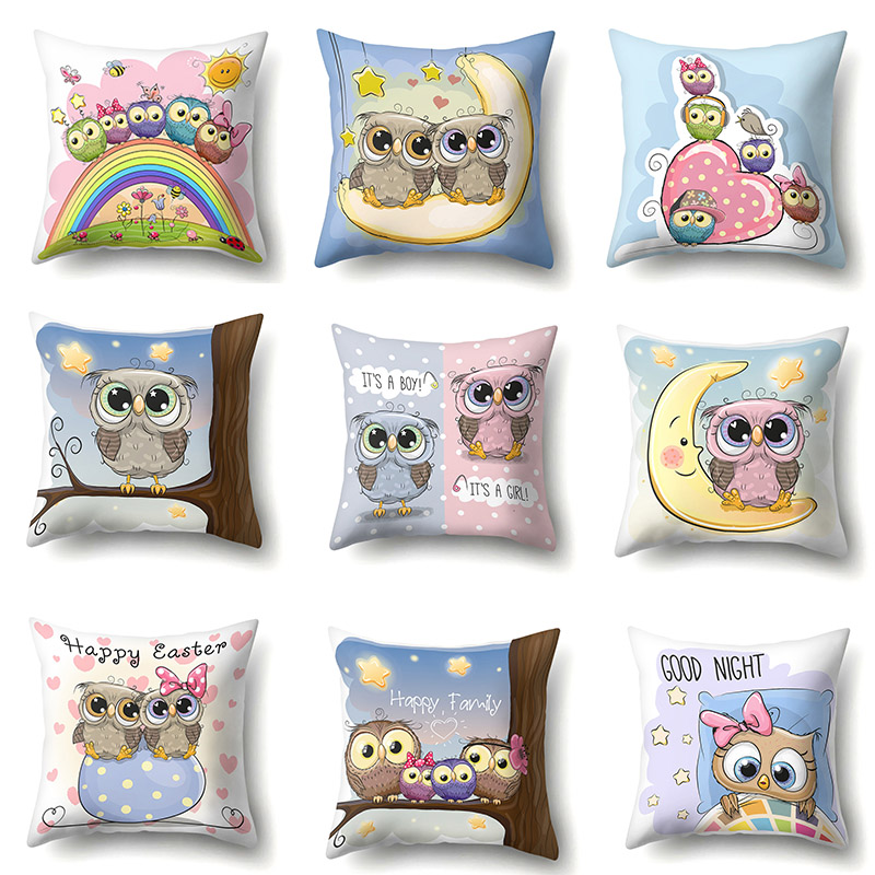 Cartoon Cushion Cover Owl Family Print Pillow Case Bird Polyester Cotton 45*45 CM Throw Pillow Cover Decoration