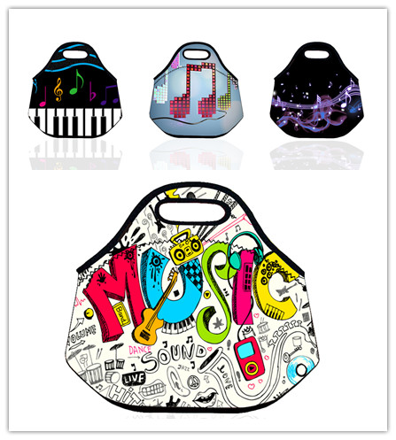 Music Pattern Thermal Insulated Neoprene Insulated Lunch Bag for Women Kids Picnic Totes vacuum box Portable Bag bolsa termica