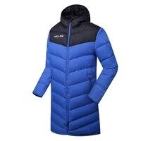 Wholesale 2016 Kelme K090 Men Long Hooded Winter Keep Warm Coat Training Sport Football Down Jacket
