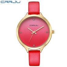 Relojes de las mujeres Marca CRRJU Moda reloj de cuarzo reloj relojes mujer vestido de las señoras de Las Mujeres de Negocios reloj de Pulsera de cuero rojo