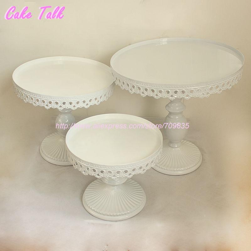 Set of 3 white wedding cake stand party decorator cupcake