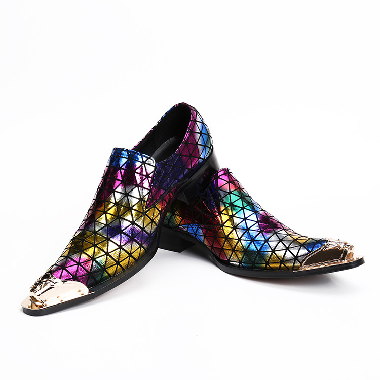 2019 Haopuvsen brand Nieuwe kleurrijke handgemaakte mannen loafers mannen mode lederen mannen trouwjurk schoenen mannen flats maat US11-in Formele Schoenen van Schoenen op  Groep 3