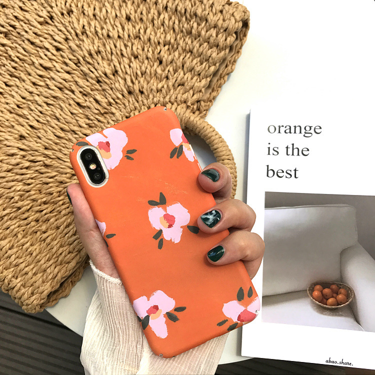 Art Flower oil painting Phone Case For iPhone 6 6S 6 Puls 7 7 Puls X Cases Orange Frosted Plastic Hard Back Cover Coque Fundas