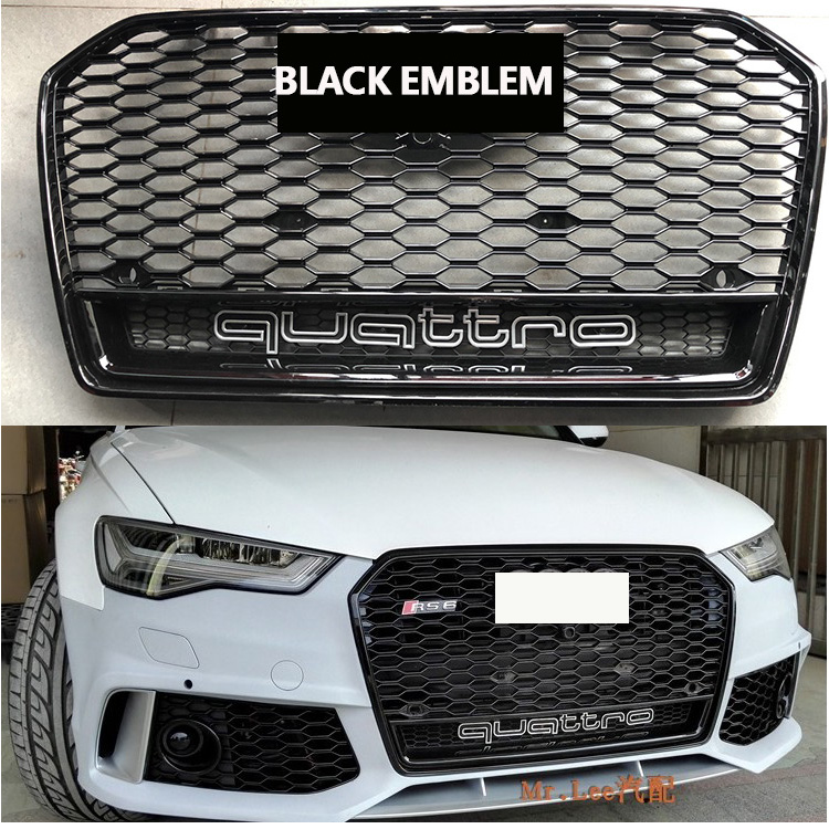 2016-2018 RS6 style ABS Black Painted radiator mesh Grille Auto Grills racing grille suitable For Audi A6 S6 RS6 after facefift radiator cooling fan relay control module for audi a6 c6 s6 4f0959501g 4f0959501c