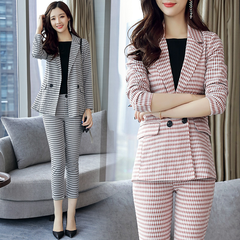 Fashion autumn new self - cultivation suit professional women s two - piece pants long - sleeved office workers suit