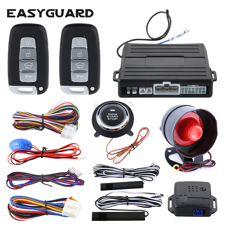 Easyguard car alarm PKE passive keyless entry push button start auto start remote engine start stop universal for dc12v ec007nk universal pke car keyless entry alarm system with remote engine start push start stop button trunk release