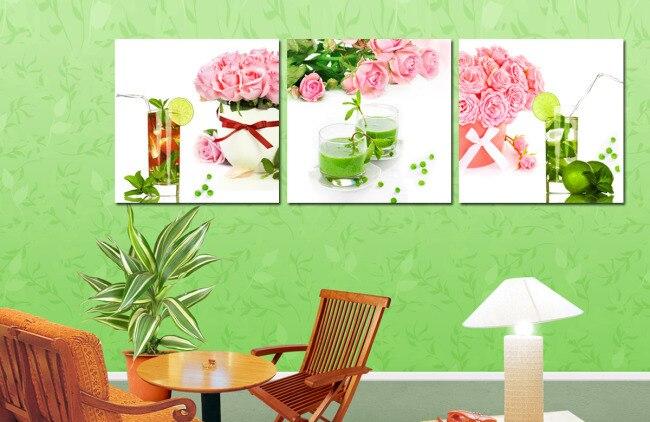 unids arte de la pared decoracin del hogar de frutas flor color de rosa decorativo de pared cuadros para la sala de cocina im