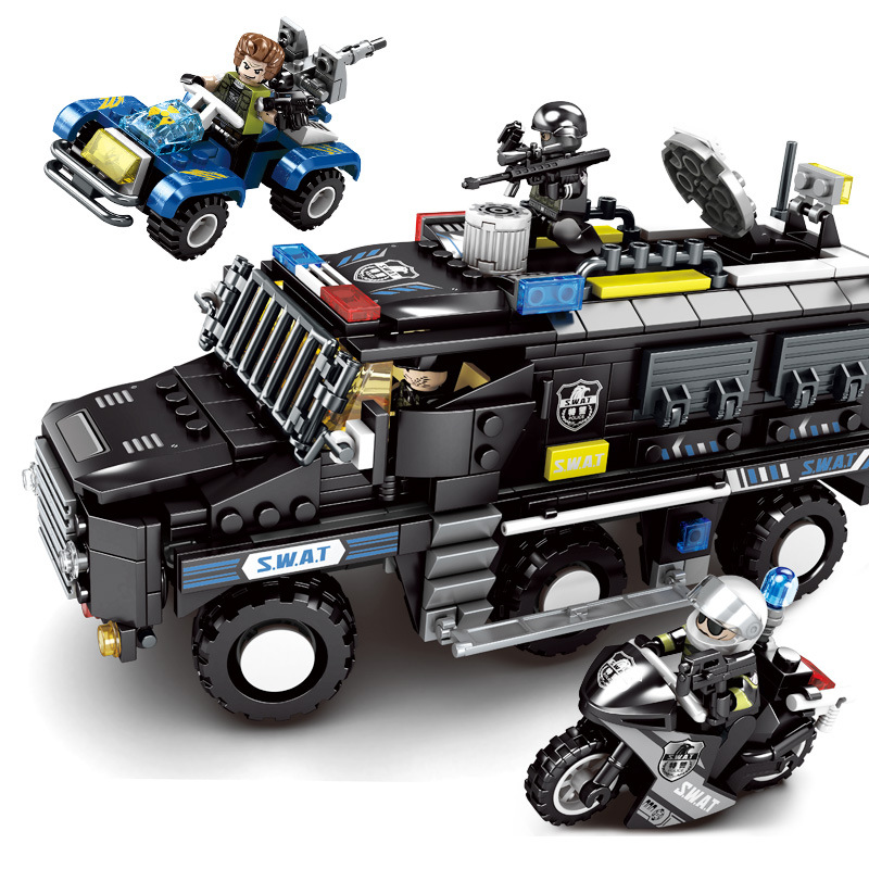 705pcs Children s building blocks toy Compatible city Special team special police explosion proof armored vehicle