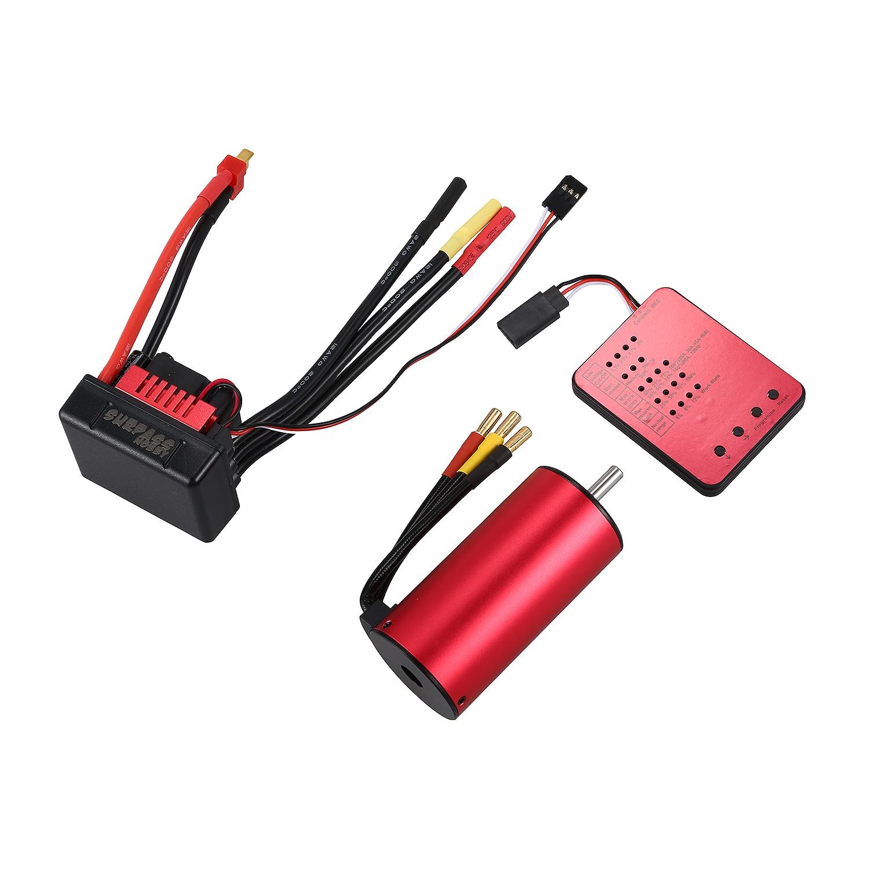 FBIL-SURPASS HOBBY S3674 2650KV Sensorless Brushless Motor + 120A Brushless ESC and Program Card Combo Set for 1/8 RC Car Truc surpasshobby 3674 2650kv 4p 5mm brushless motor with heat sink 120a brushless esc combo set for 1 8 rc car model toy parts hot