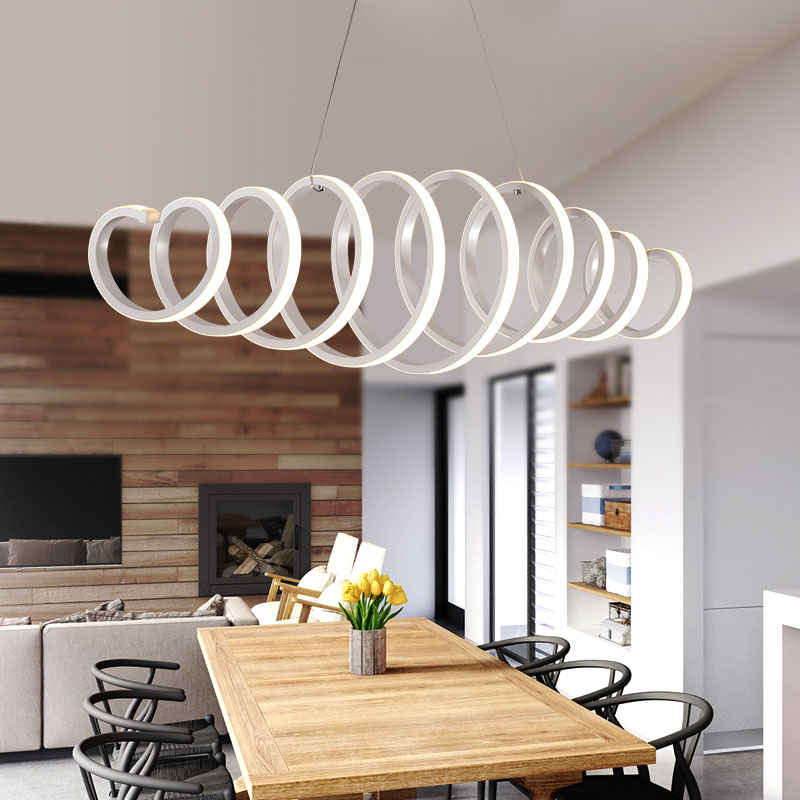 AC85 260V Modern led chandelier for dining room bar kitchen aluminum acrylic white hanging pendant chandelier lamp free shipping in Chandeliers from Lights Lighting
