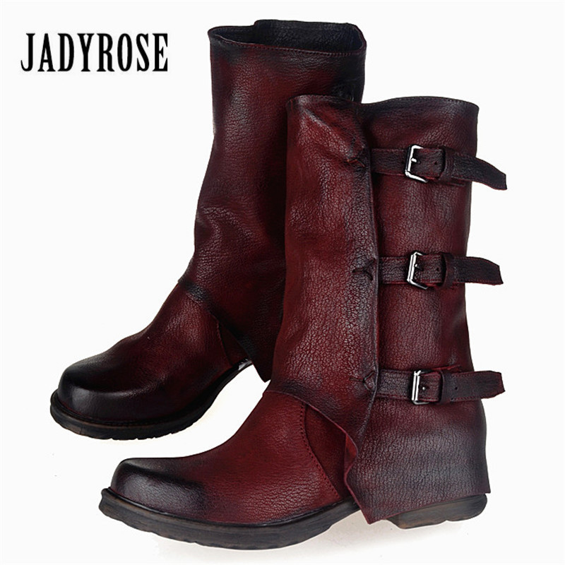 Jady Rose Genuine Leather Buckles Decor Women Winter Boots Flat Heel Platform Booties Female Snow Boots Botas Militares new fashion black purple women genuine leather ankle boots chain decor punk style motorcycle booties flat botas militares