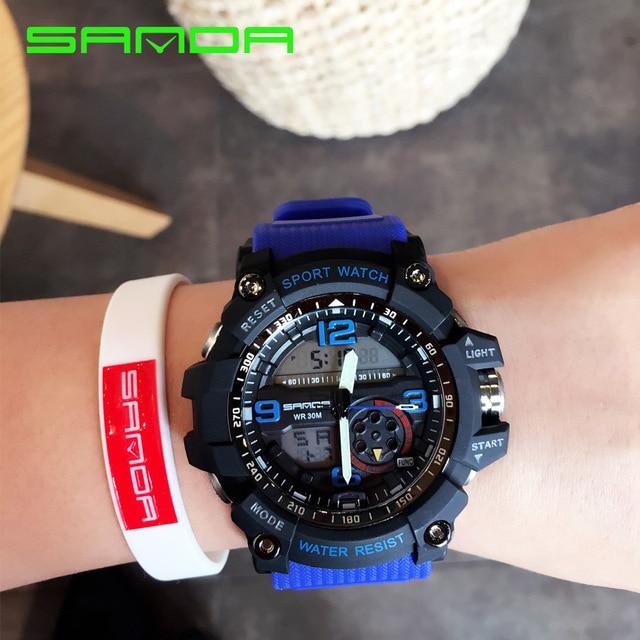 New Brand SANDA Led Digital Watch Men Sport Military Watches Alarm Stopwatch Fashion Luxury Men's Quartz Watches Luminous Clock