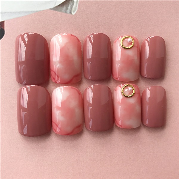 Beauty & Health Flamingo Pattern Green False Fake Nails Red Bird Round Head Full Cover Press On Nails For Bride Office Summer Wear Accessories Elegant In Style Nail Tools