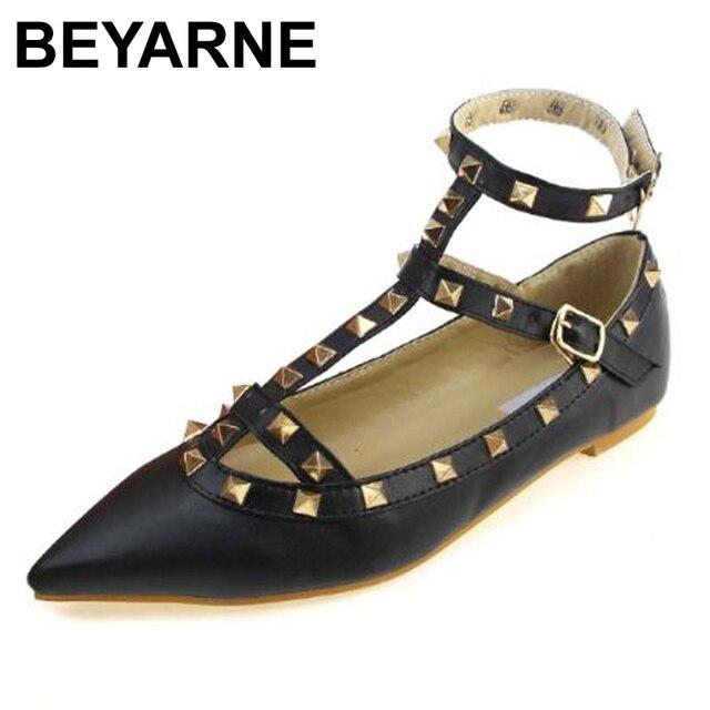 Новая коллекция весна 2016 женская мода металла золота revit плоские туфли ladies t-ремень римские обувь женская острым носом шпильки одноместный весна обуви