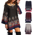 Dresses For Ladies Vestido Casual Spring Women Clothes Boho Multicolor Round Neck Long Sleeve Vintage Print Shift Short Dress