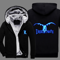 Hot New Winter Coat Death Note Luminous Anime Cosplay Mens Cashmere Hoodies Coat Thick Warm Jacket