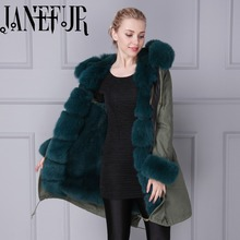 Winter long style camouflage genuine dark green fox fur,faux fur inside men women padded parka coat