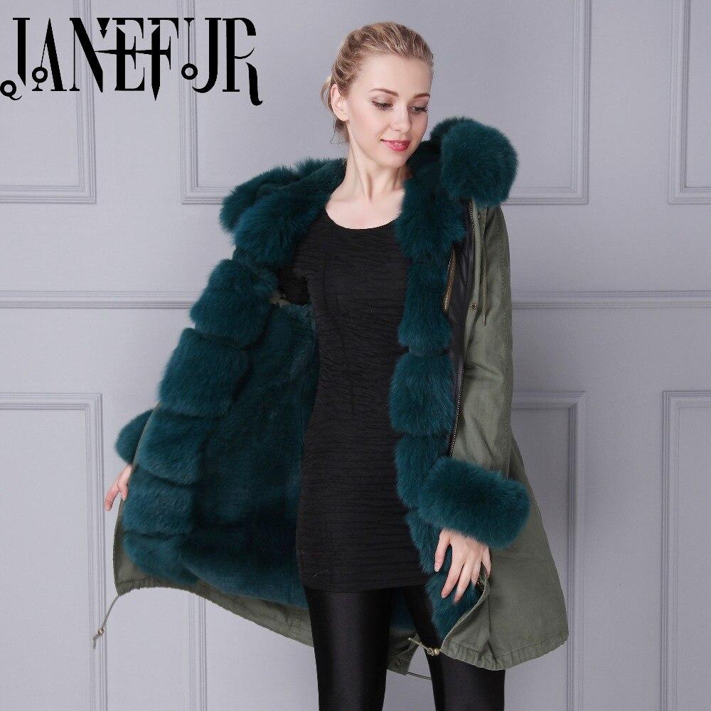 Winter long style camouflage genuine dark green fox fur,faux fur inside men women padded parka coat