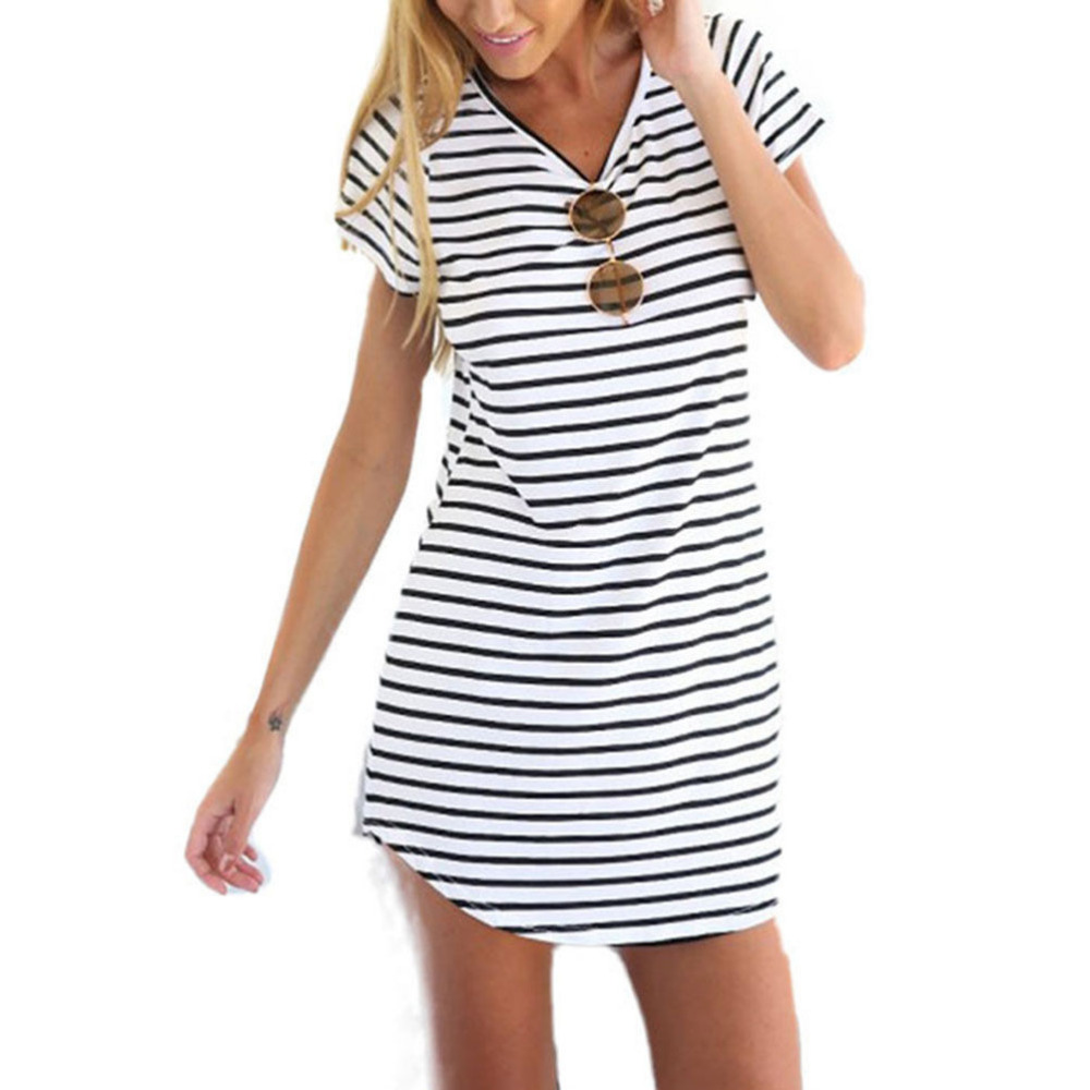 ea28a9cb21c 2016 New Designer Hot Sale Women Round Neck Fashion Black and White Striped Short  Sleeve Straight Short Casual Dress-in Dresses from Women s Clothing on ...