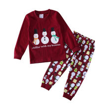 Baby Girls Clothes Set Snowman Red Xmas Kids Girl Clothing Autumn Cotton Long Sleeve T-shirt Pants Outfits 2PCs