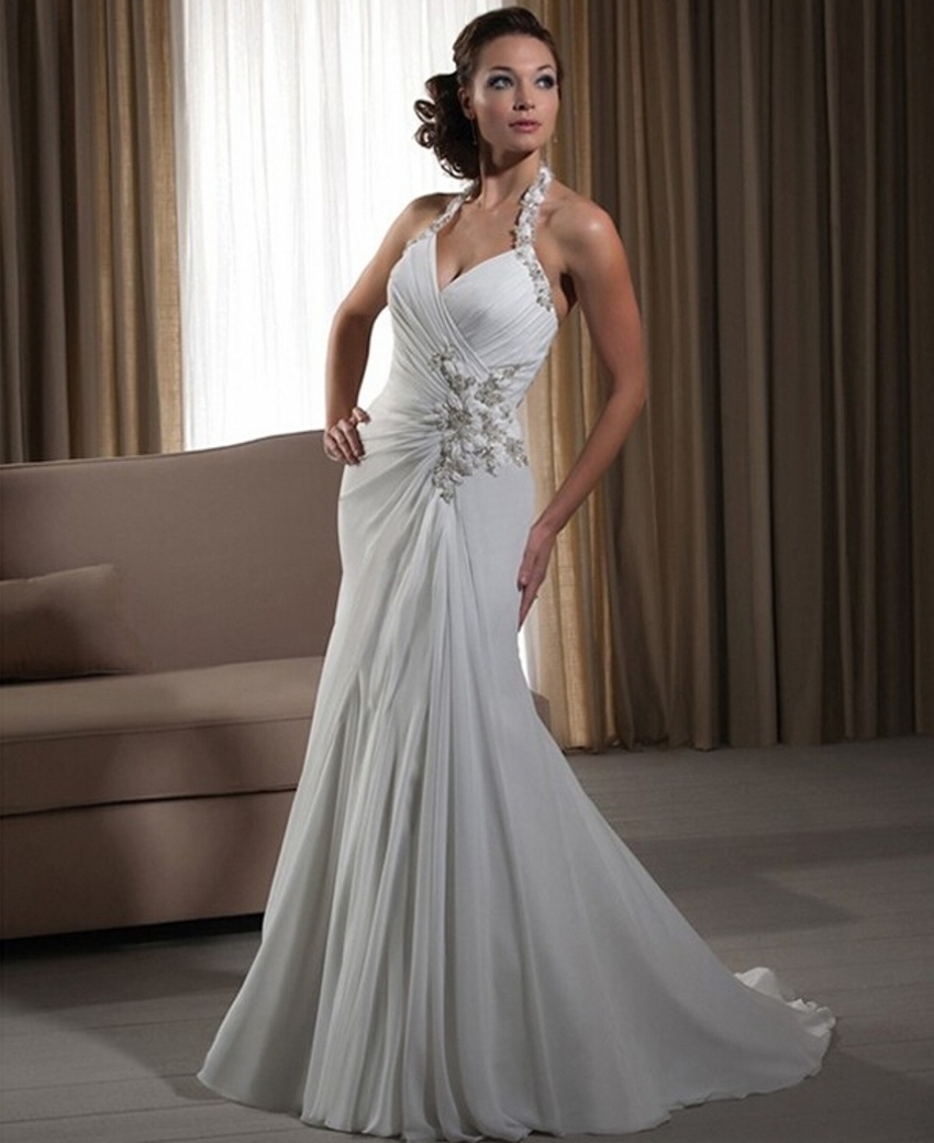 Wedding Gowns In China: Vintage Women Simple Chiffon Backless Cheap Mermaid