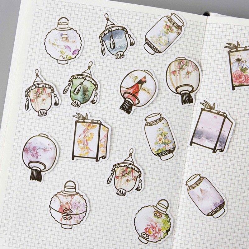 45 pcs/box Chinese classic Palace lantern paper sticker decoration DIY diary scrapbooking sealing sticker children's stationery creative spider paper lantern halloween supply party decoration
