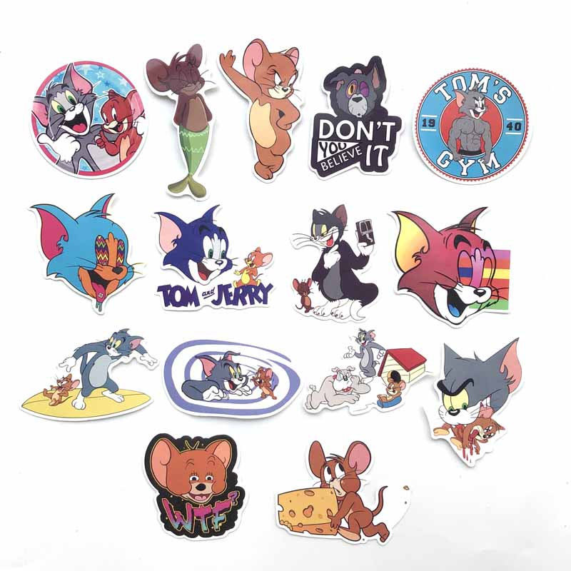 15pcs Tom Cat Jerry Mouse Cartoon Car Stickers Comedy Waterproof Suitcase Laptop Guitar Luggage Skateboard Toy Lovely Stickers