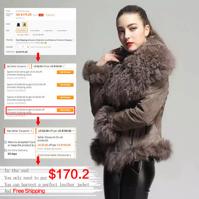 Casual Pigskin Genuine Lather Fur Jacket With Wool Collar