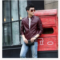 The New Spring And Summer 2015 Men S Fashion Leather Jacket Thin Section Korean Slim Tide