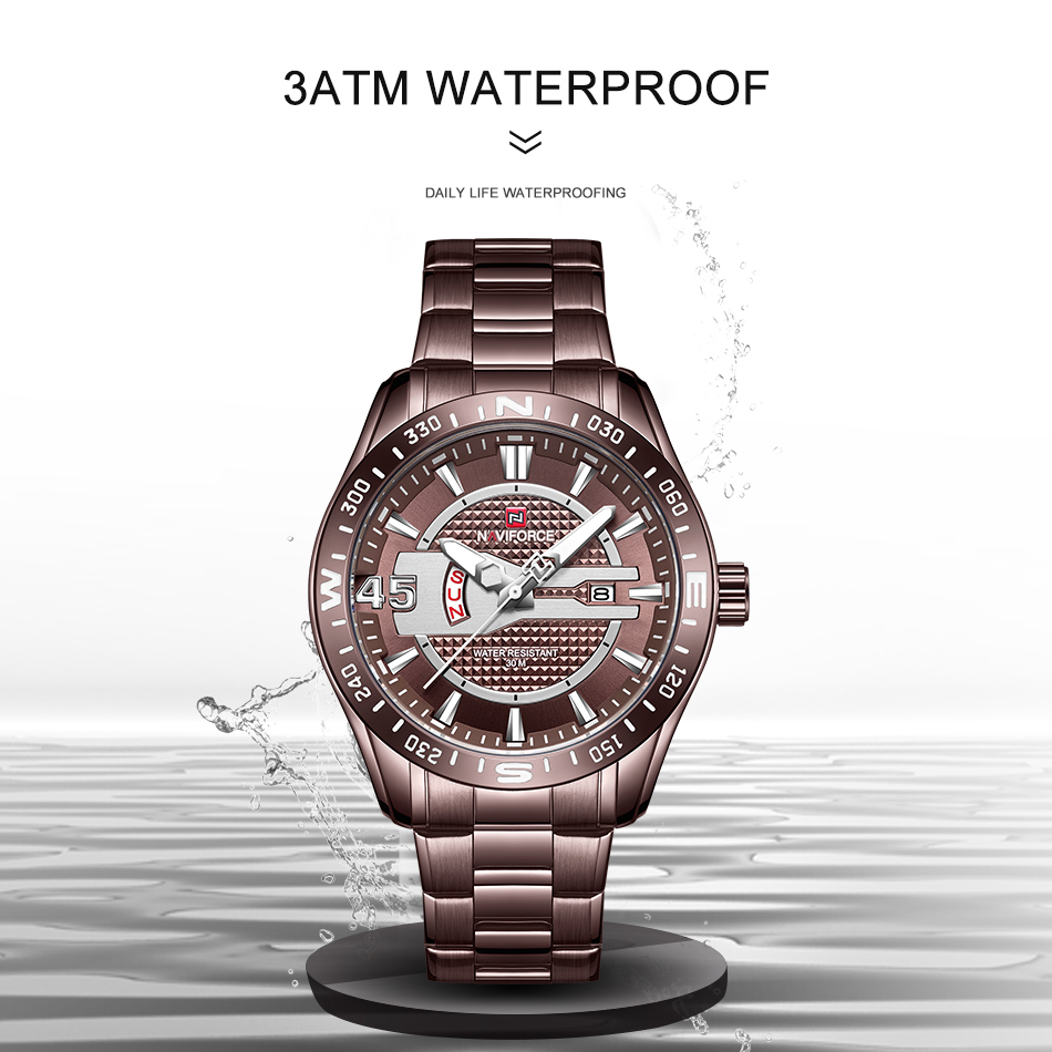 NAVIFORCE Luxury Brand Watches Mens Sport Watch Full Steel Quartz Clock Men Date Waterproof Business Watch Man relogio masculino