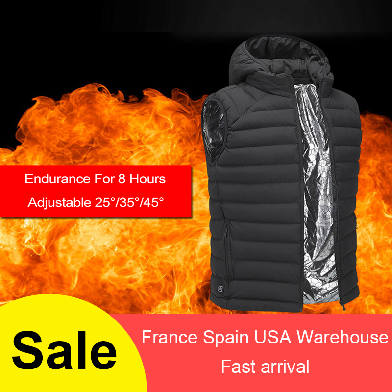 Winter Thermal Heated Vest USB Infrared Electric Men Women Heating Jacket Feather Warm Casual Waistcoat hunting