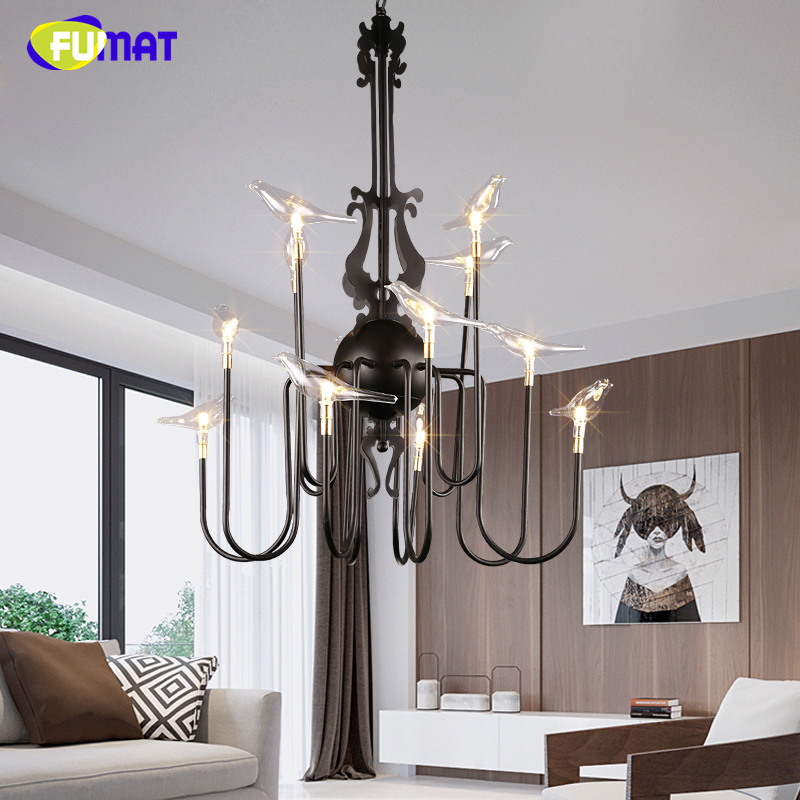 FUMAT Modern Brief Glass Birds LED Pendant Lights European Style Pendant Light For Dinning Room Nordic G4 Foyer Store Lightings fumat stained glass pendant lamps european style glass lamp for living room dining room baroque glass art pendant lights led