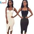 Женщин сексуальный колен спагетти ремень сплит передняя хем черный белый район hl платья повязки эластичный плотный ночной клуб платье HL480