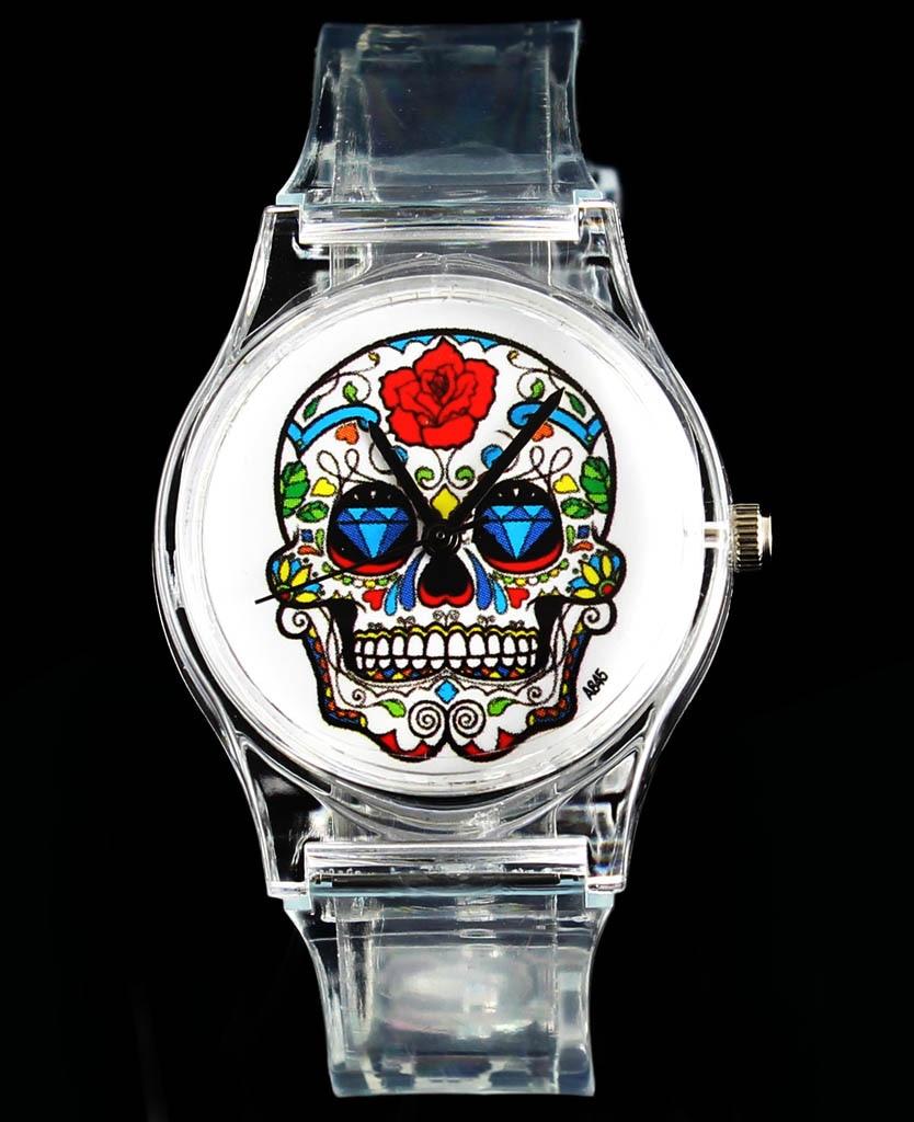 Rose bloem schedel hart kwaad duivel skeleton quartz horloge mode - Dameshorloges