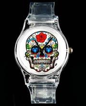 Rose Flower Skull Heart Evil Devil Skeleton Quartz Watch Mode Män Kvinnor Vit Transparent Band Armbandsur