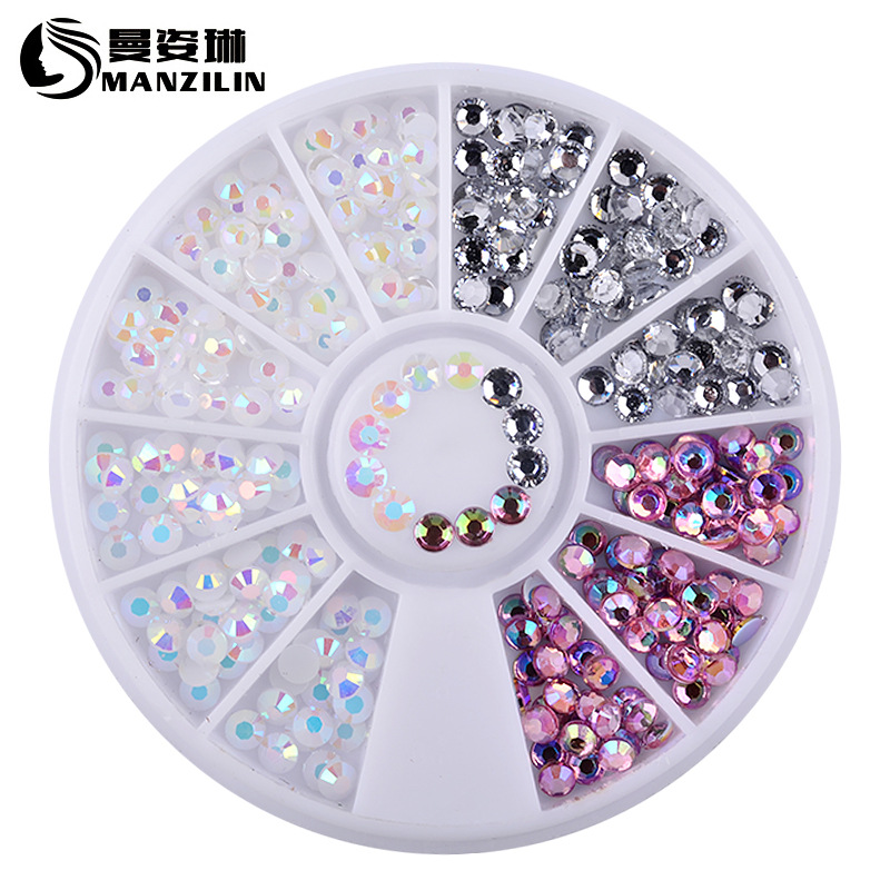1 Box Colorful 3D Jelly AB Acrylic Wheel Nail Stickers Decoration DIY Nail Art Tips Jewelry Rhinestones Manicure tools 1000pcs lot ab color marquise nail art rhinestones women decoration diy nail jewelry accessories 3d nail art supply tools wy505