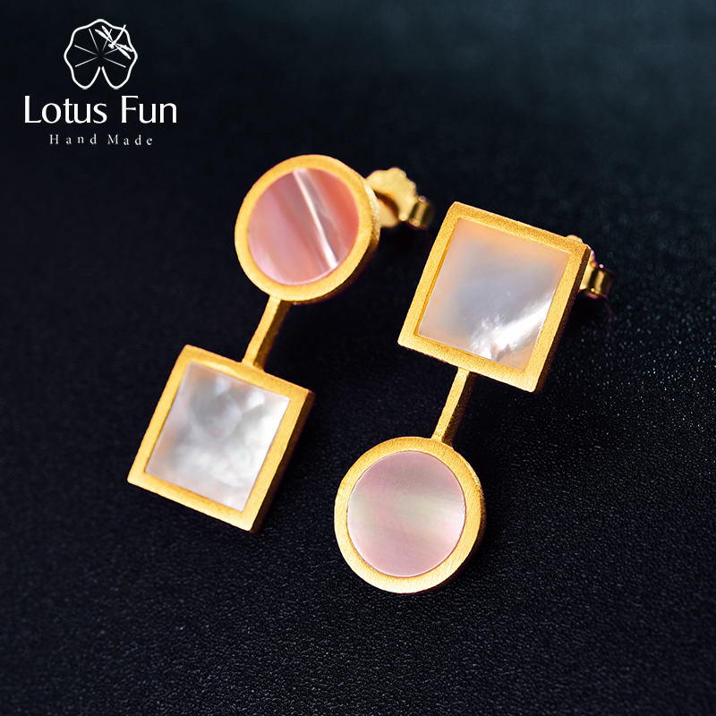 Lotus Fun Real 925 Sterling Silver Earrings Natural Shell Fine Jewelry The Art Of Square And Circle Dangle Earrings For Women