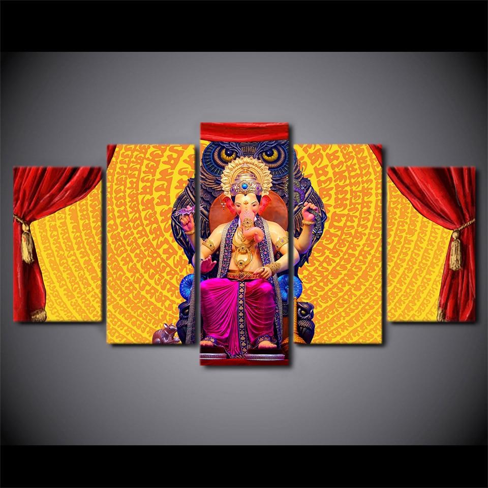 5 pièces HD imprimé hindou dieu Ganesha éléphant photo mur Art toile impression décor affiche encadrée toile peinture à l'huile Quadro