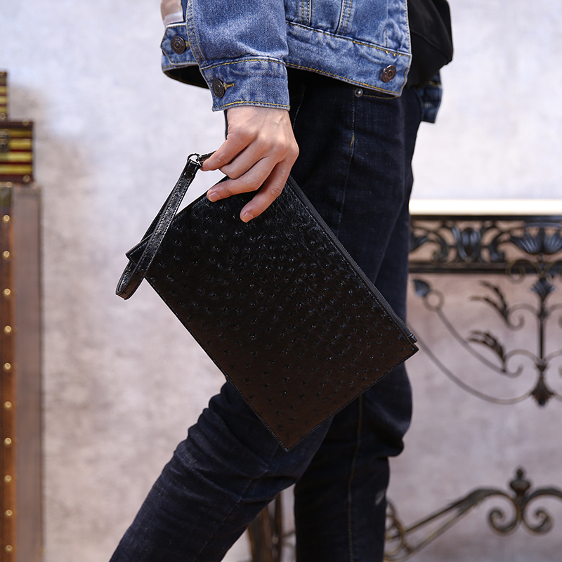 New Trend Men's Wrist Bags PU Leather Male Day Clutches Brand Design Simple Casual Style Mens Zipper Pouch Envelope Bags px016