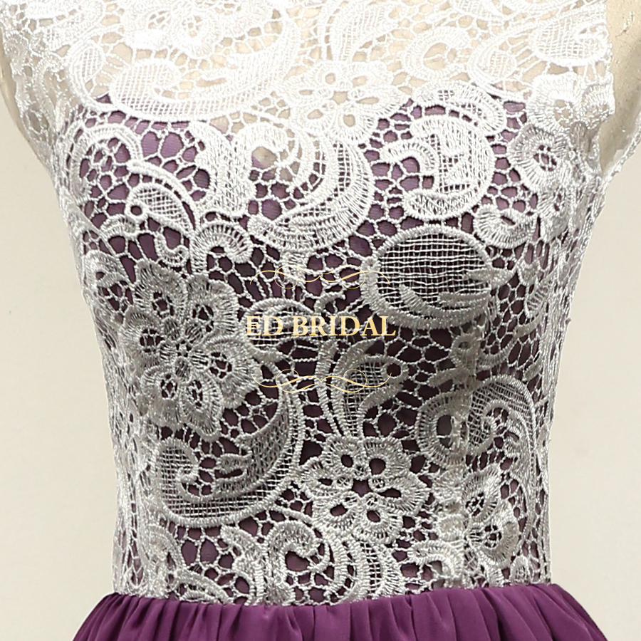 Custom Made Venice Lace Chiffon White Purple Short Bridesmaid Dresses Party  Gown Maid of Honor Dress robe demoiselle d honneur-in Bridesmaid Dresses  from ... b1f745a1e5e8