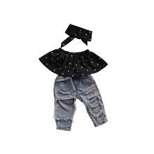2017 Fashion Summer Clothes Sets Infant Girls Sleeveless Pullover Off Shoulder Polka Dot Black Shirt Tops Denim Pant Haedband