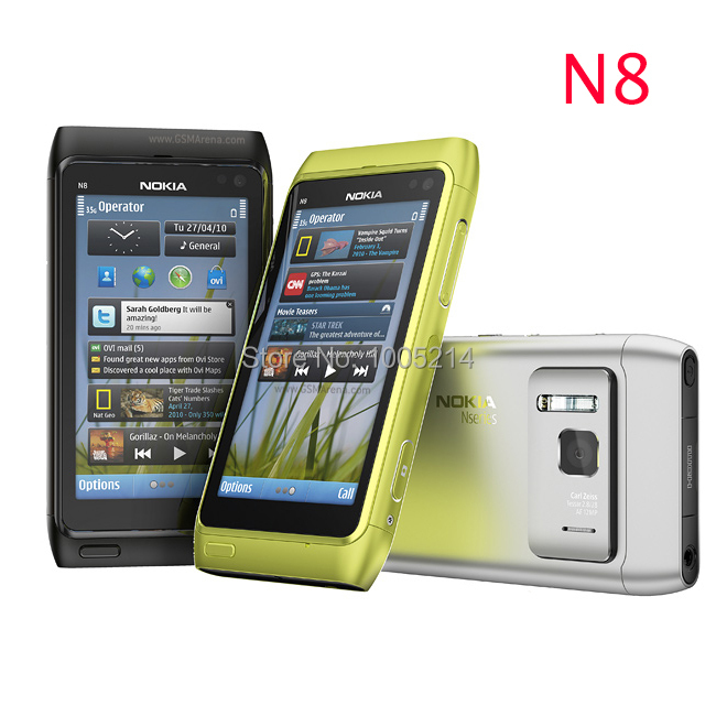 Refurbished Original Nokia N8 mobile phone 3G WIFI GPS 12MP Touchscreen 3 5 Unlocked Mobile Phone