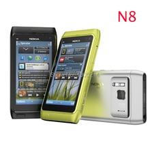 Восстановленное в Исходном Nokia N8 мобильный телефон 3 Г, WIFI, GPS 12MP Сенсорный Экран 3.5 «Открыл Мобильный Телефон 16 ГБ Внутренних Бесплатно доставка