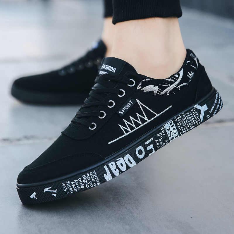 Nhysa 2019 di autunno della molla pattini piani dei nuovi uomini degli uomini di modo confortevole traspirante scarpe di tela degli uomini del merletto casuale scarpe da ginnastica di L512