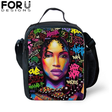 African Black Girl Print Messenger Thermal Food Lunch Bag for Children Woman box Picnic Kids Insulated Shoulder bag