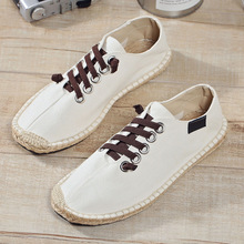 Peking Spring Summer Boats Shoes Hemp Canvas Sneakers Lace Up Breathable Men's Flats Espadrilles Fashion Casual Driving Shoes