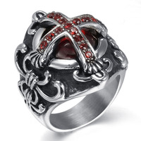 Vintage Vampire Diaries Cross Stainless Steel Men Rings Red Stone Crystal Rhinestone Gothic Ring Male With Silver Spider jewelry