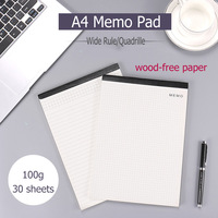 A4 Ivory White Memo Pad For Clipboard 100g Wood Free Paper Legal Rule Quadrille Perforated Pads