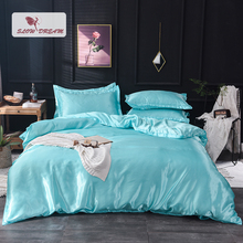 Slowdream Luxury Sky Blue 100% Silk Bedding Set Double Queen King Bed Bedclothe Duvet Cover Flat Or Fitted Sheet Pillowcase